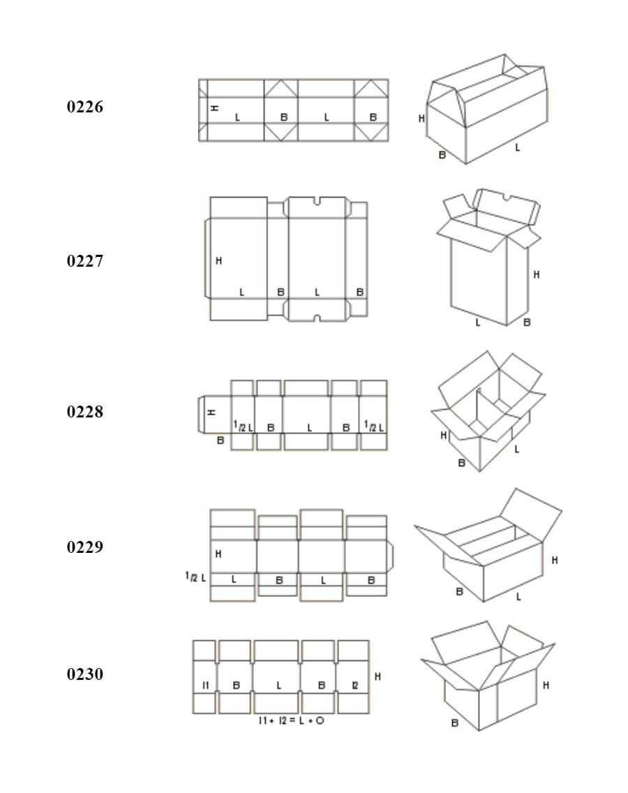 Виды коробок FEFCO 02xx