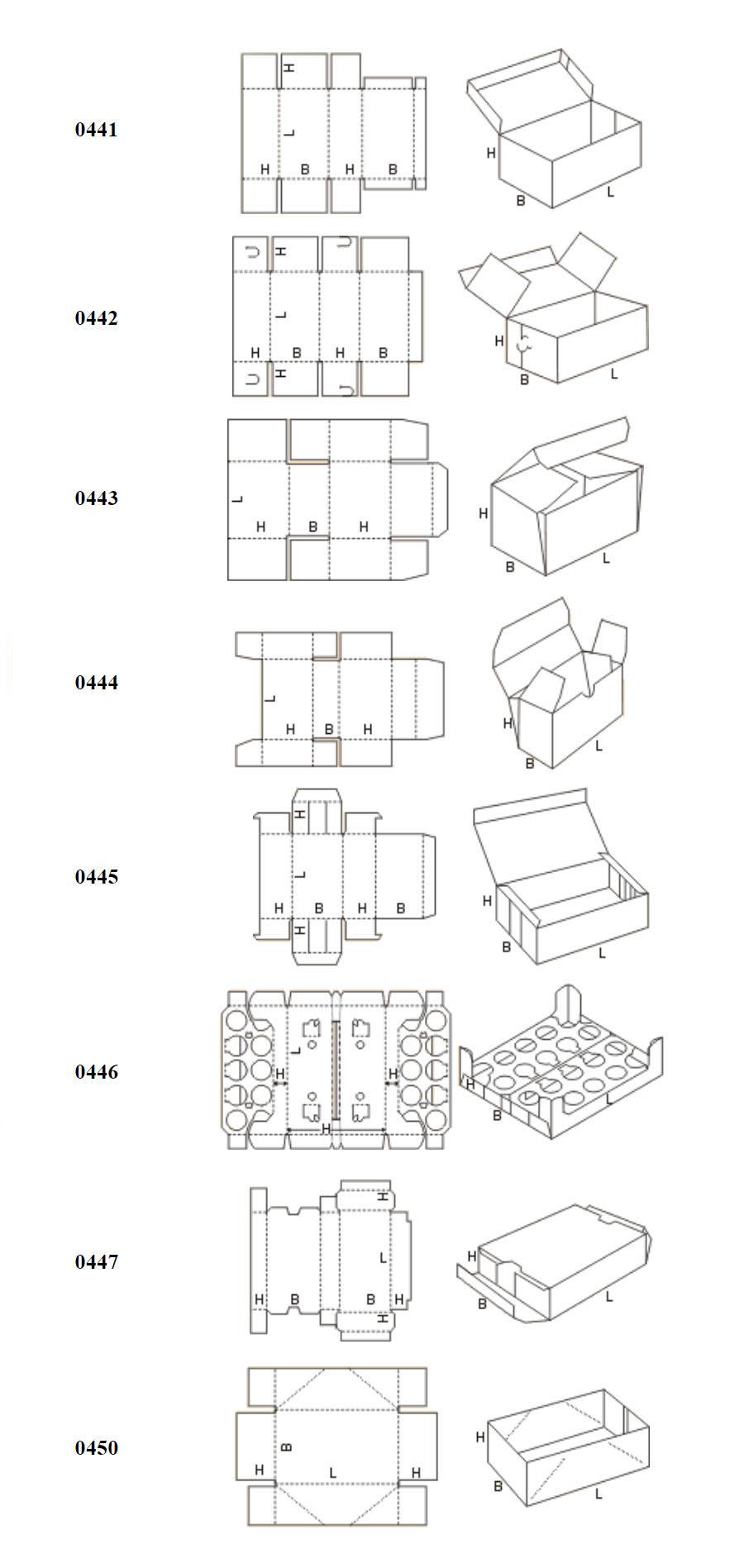 Виды коробок FEFCO 04xx